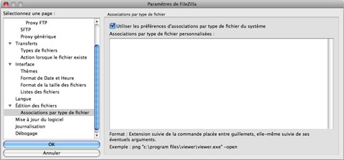 FileZilla : Associations par types de fichiers